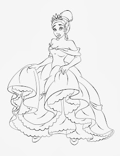 Princess Tiana and The Frog Coloring Pages