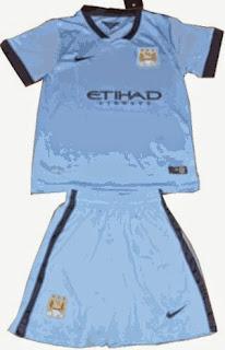jual online baju bola anak, grade ori, jersey anak manchester city home terbaru, ready celana bola anak