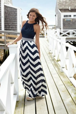 Plus size nautical maxi dress