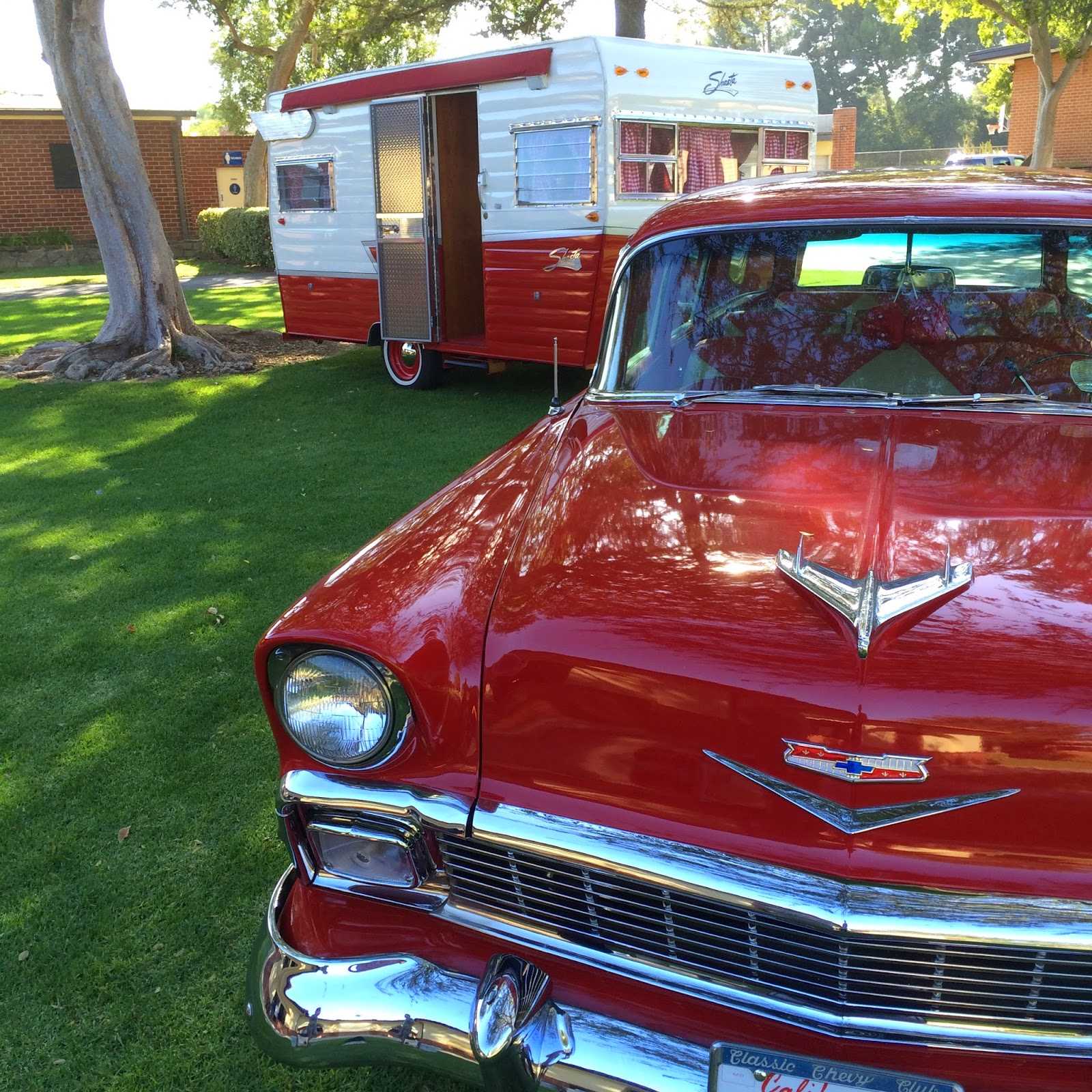 1956 Chevy Wagon & Shasta Trailer from our December Catalog Cover