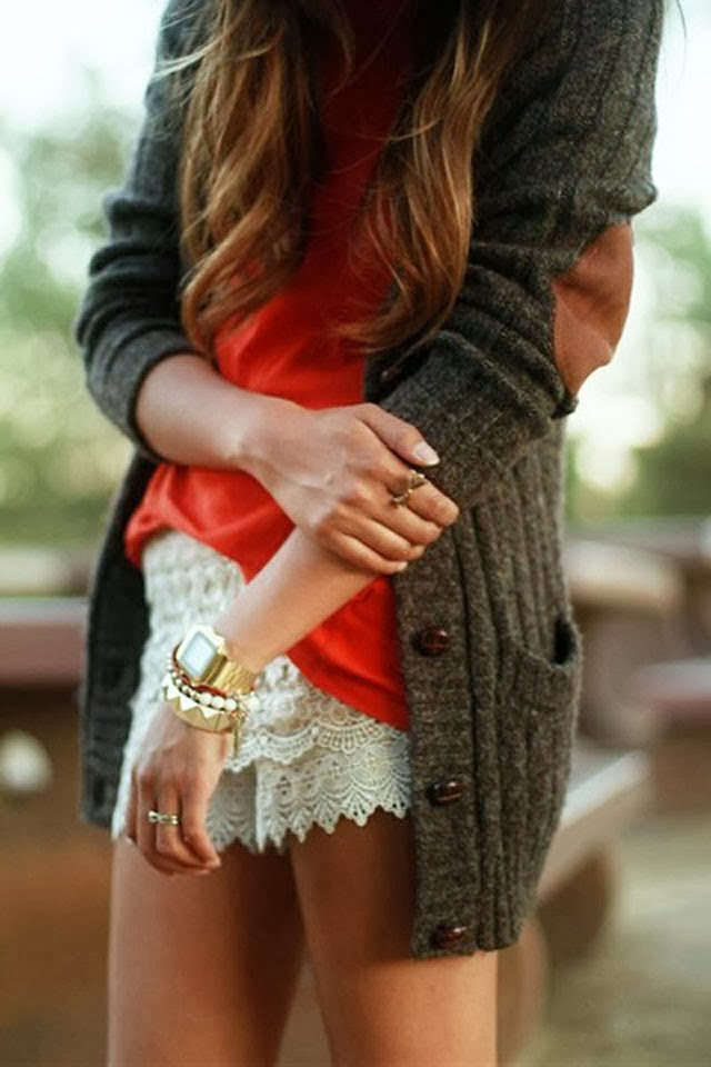 Adorable cardigan with brown elbow patch and lace shorts