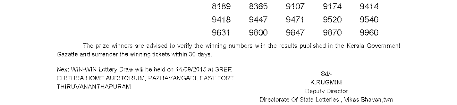 WIN WIN Lottery W 324 Result 7-9-2015