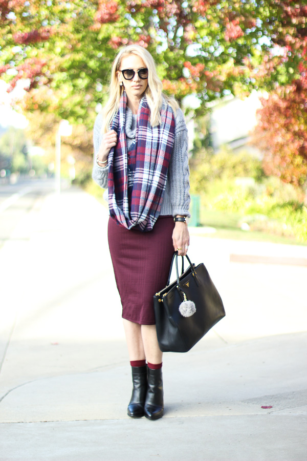 plaid infinity scarf chunky knit sweater pencil skirt