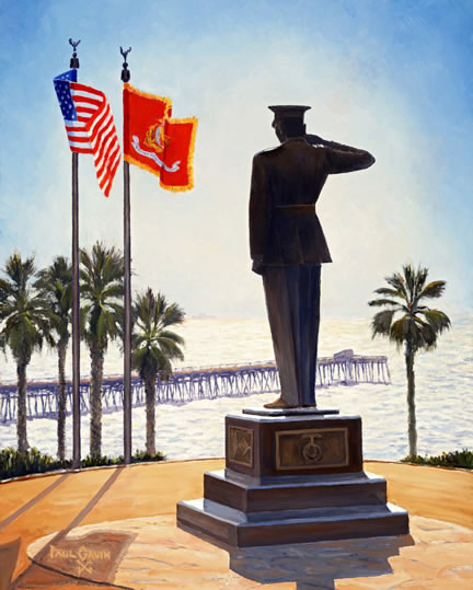 Marine Corps Monument above San Clemente Pier