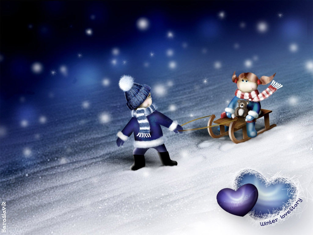 Winter Love Desktop HD Wallpaper