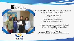 SEGUNDO LUGAR: <br> Premio Nacional de Periodismo Cultural René Avilés Fabila 2018