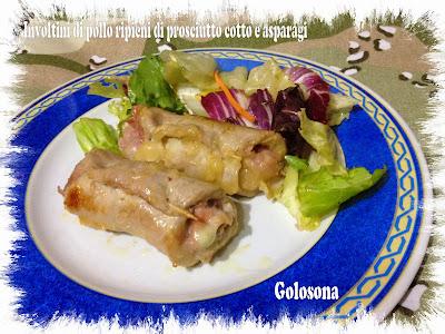 involtini di pollo ripieni di prosciutto cotto e asparagi