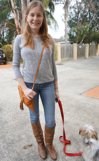 avalina leather bag skinny jeans and boots embellished grey knit jumper