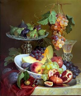 Cuadros Uvas Negras Frutas Pintadas