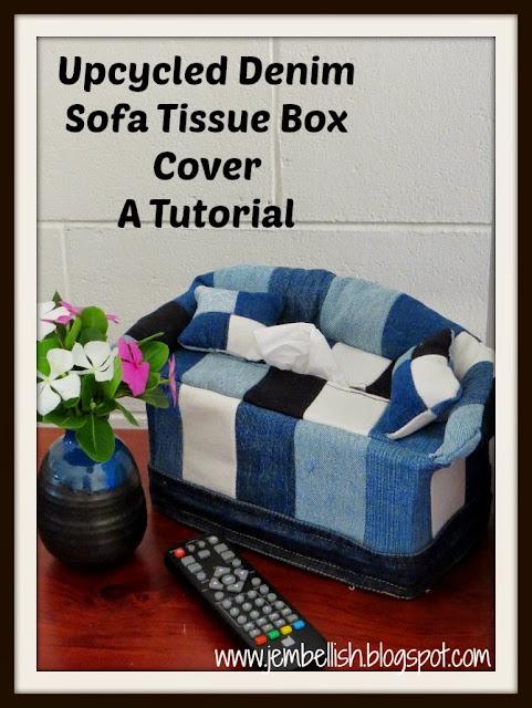Creating My Way To Success Upcycled Denim Sofa Tissue Box