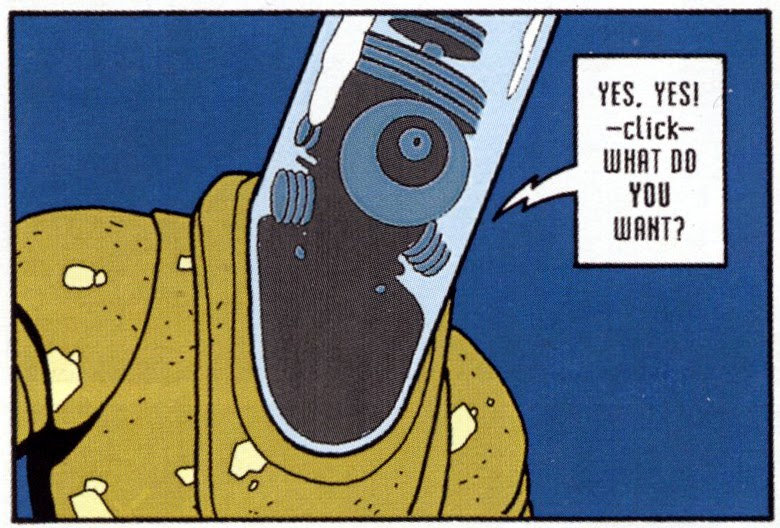 panel from Terminal City featuring Basil Fawlty robot