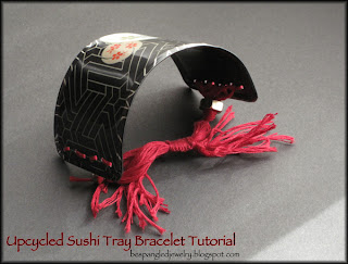 Upcycled Sushi Tray Bracelet tutorial by Bespanlged Jewelry