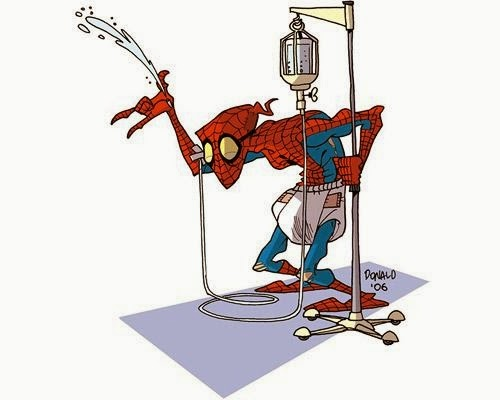 07-Spider-Man-Peter-Parker-Donald-Soffritti-Cartoon-Cartoonist-Superheroes-in-Old-Age-www-designstack-co