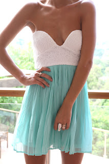 Mint and White Tea Dress by SABO SKIRT
