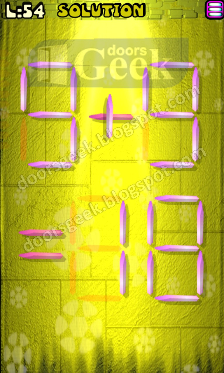 Matches puzzle episode 1 level 54 solution doors geek for 16 door puzzle solution