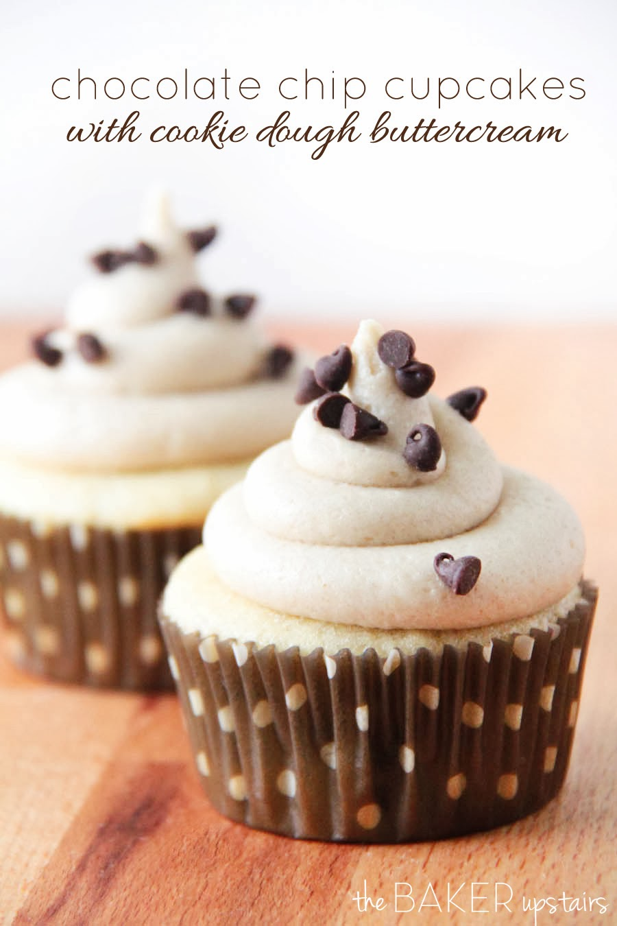 ... baker upstairs: chocolate chip cupcakes with cookie dough buttercream