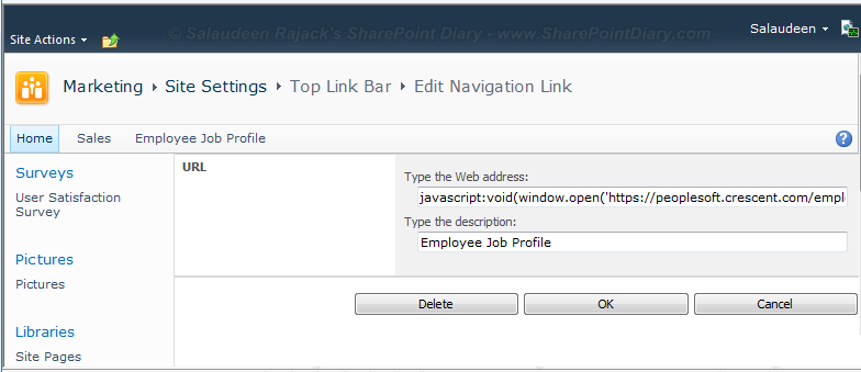 open url new window sharepoint 2010