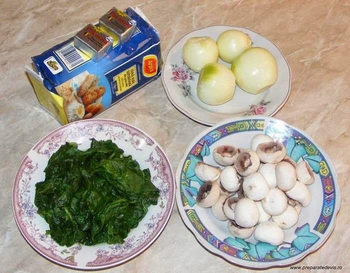 ingrediente branzoaice sau pateuri de post, ingrediente suberec si coltunas de post, retete cu spanac si ciuperci, preparate din spanac si ciuperci, retete de post,