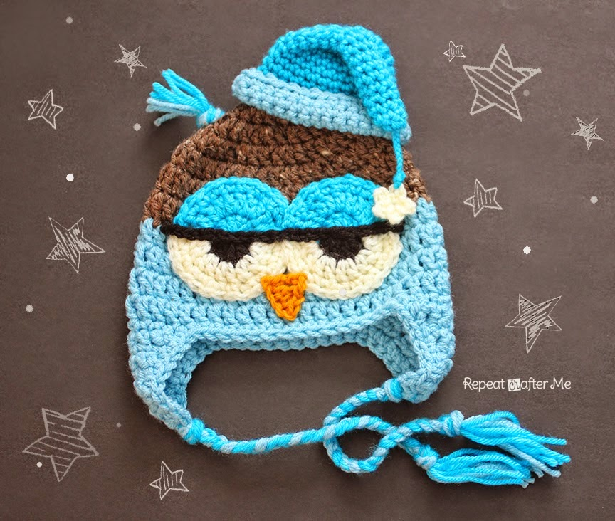 http://www.repeatcrafterme.com/2014/07/crochet-drowsy-owl-hat-pattern.html