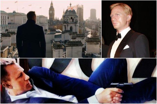 Skyfall: James Bond 007 contempla Londres desde lo alto del Department for Energy & Climate Change DECC - Daniel Craig en el Madame Tussauds, el museo de cera de Londres - Imagen promocionando Skyfall en el cine