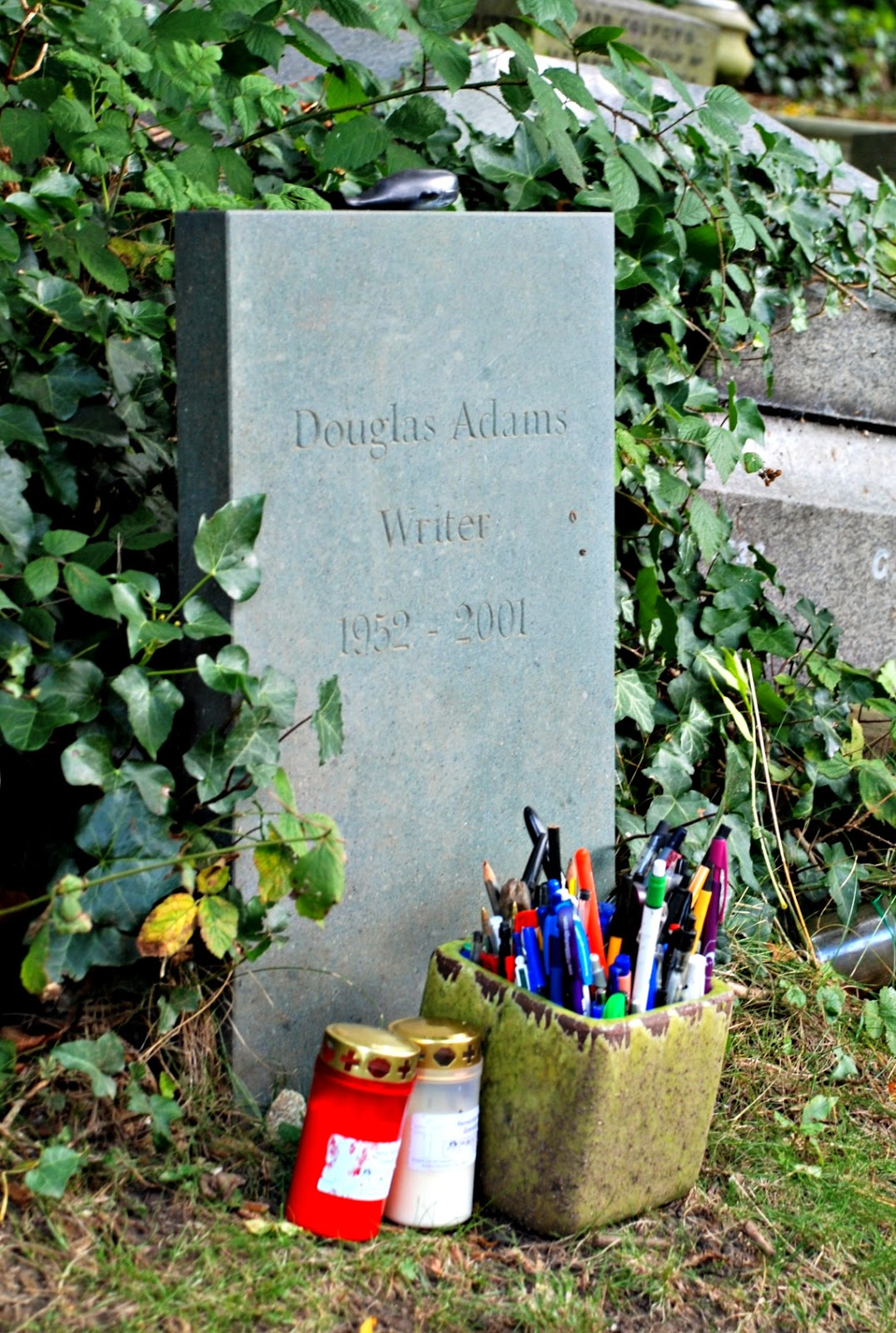 Douglas Adams' memorial, Highgate Cemetery, London