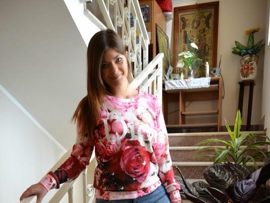 Roses Print Sweatshirt Sheinside, Asos jeans