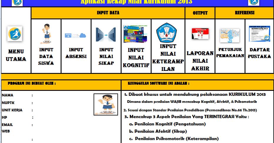 Download Aplikasi Rekap Nilai Kurikulum 2013 Semua Jenjang