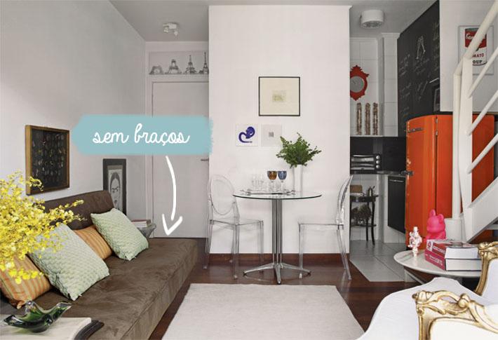 Sala Pequena Com Sofa Em L ~ Mas para quem não gosta de sofás sem braços, vejam as próximas