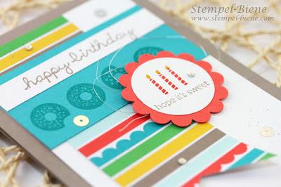 Stampin Up Geburtstagskarte, Stampin Up Stempelparty, Stempelpartyprojekte, Stampin Up Sprinkles on Top, Stampin Up bestellen, Match the Sketch, Stempel-biene