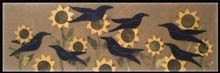 "Flocking Crows Wool Applique Wallhanging or Runner 12"" by 36"""