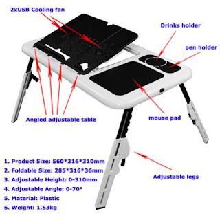 Detail dan Spesifikasi Meja Laptop Portable