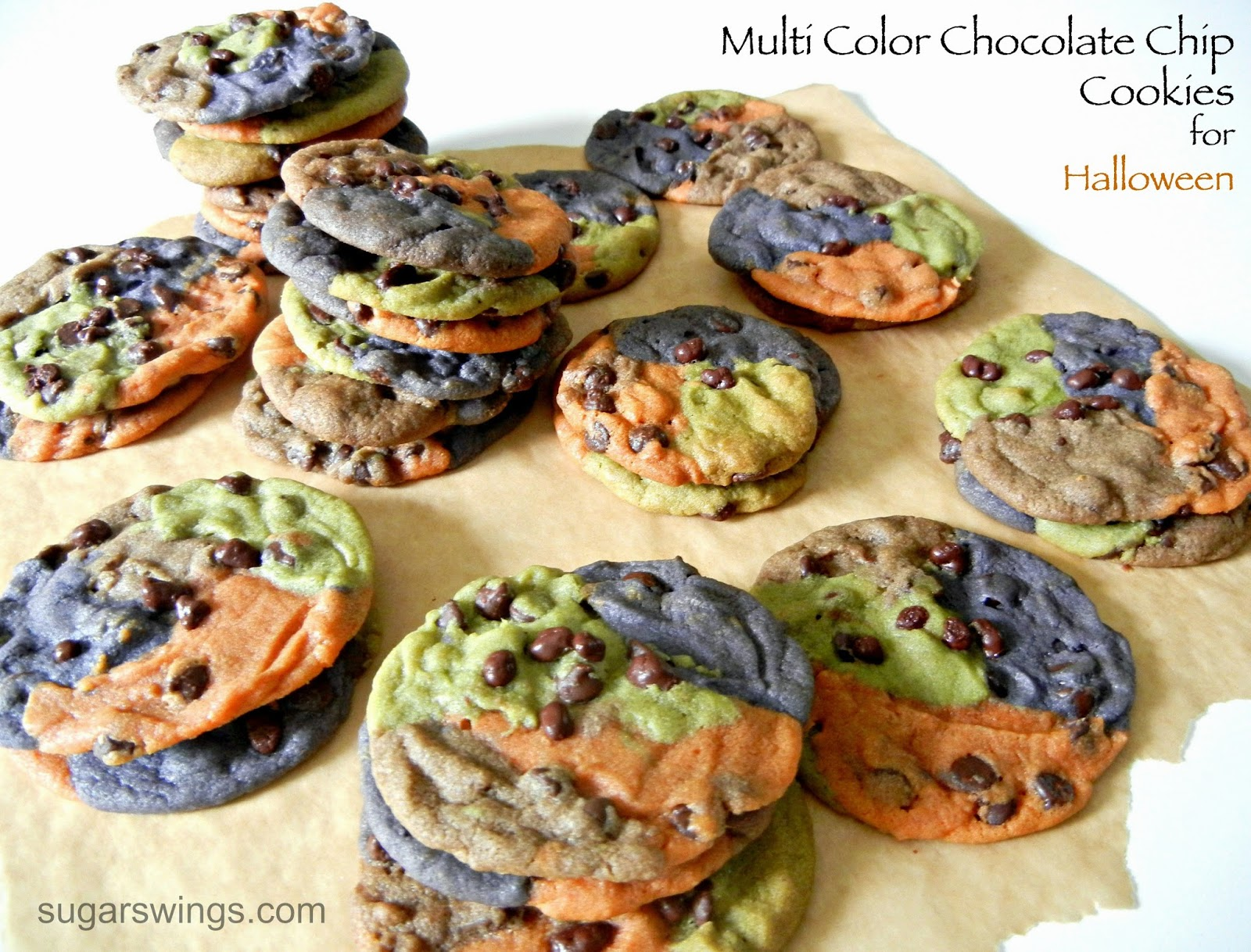 sugar swings! serve some: colorful chocolate chip cookies for halloween