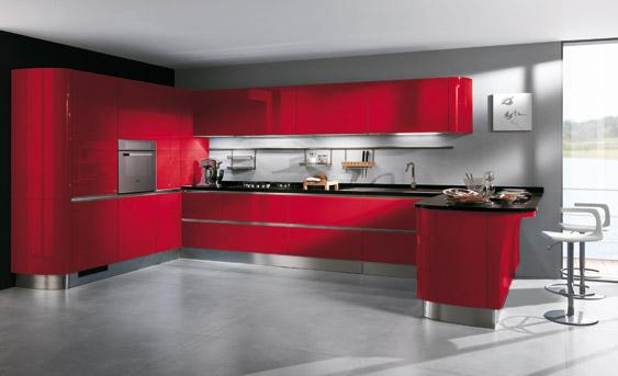 8 cocinas color rojo italianas modernas ideas para - Cocinas de color rojo ...