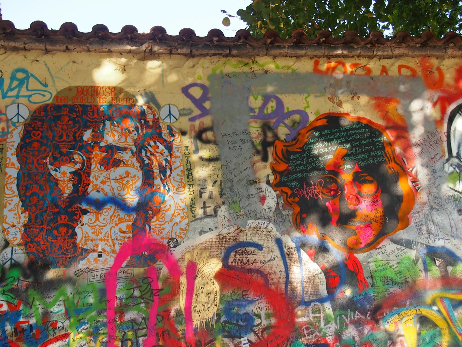Images of John Lennon in the Lennon Wall