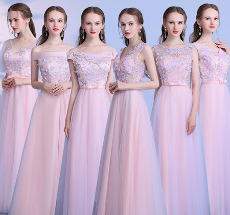2017 6-Design Purple Pink Floral Maxi Bridesmaids Dress