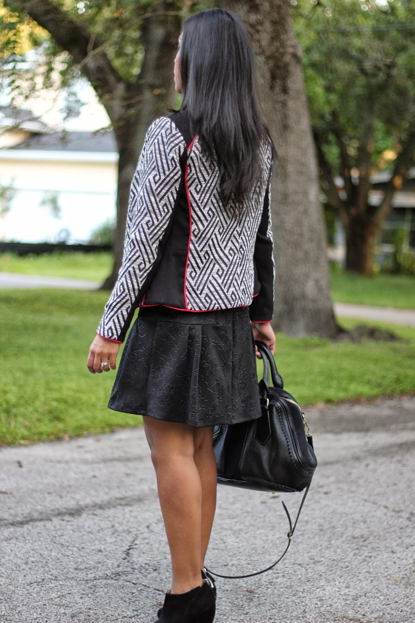 H&M printed red black and white motorcycle jacket drop waist black flare dress wedge suede ankle booties burberry nine west ASOS
