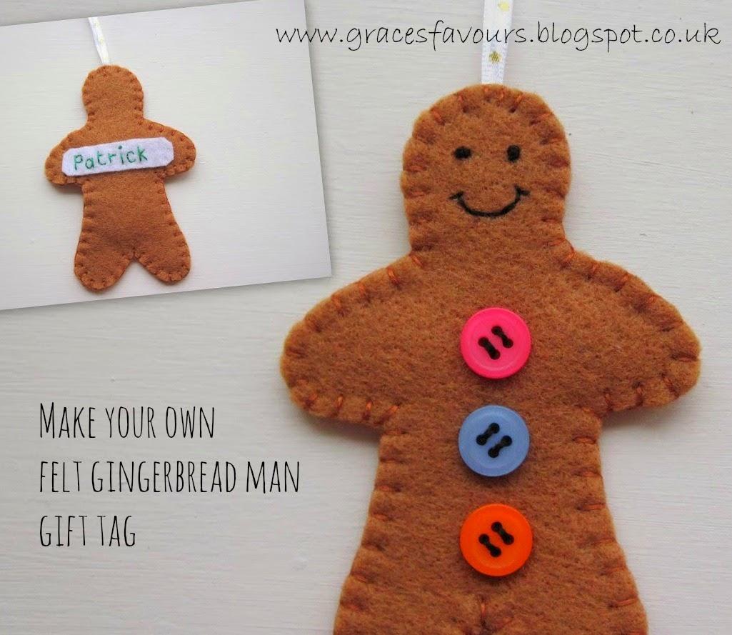 To make 1 Gingerbread Man Felt Gift