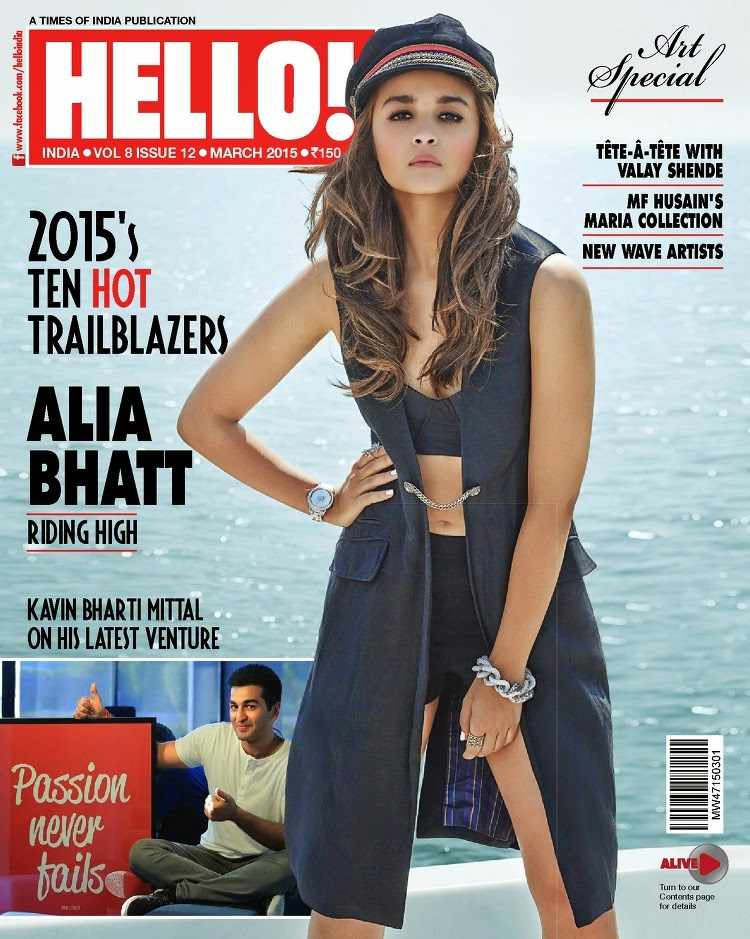 Actress, Singer @ Alia Bhatt - Hello! India, March 2015