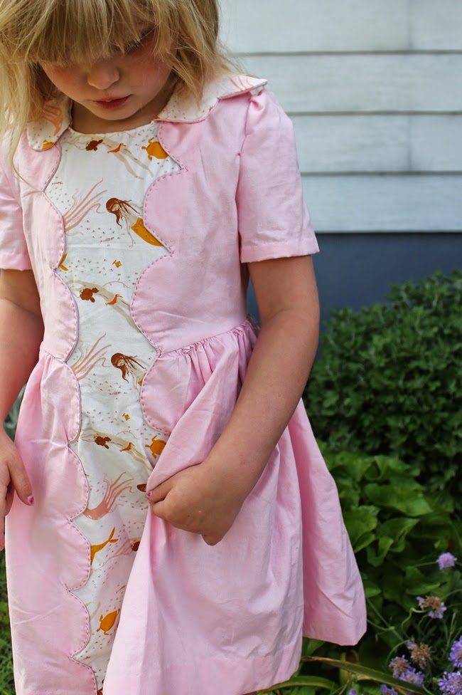1950s kids vintage mermaid print Heather Ross dress simplicity 2930