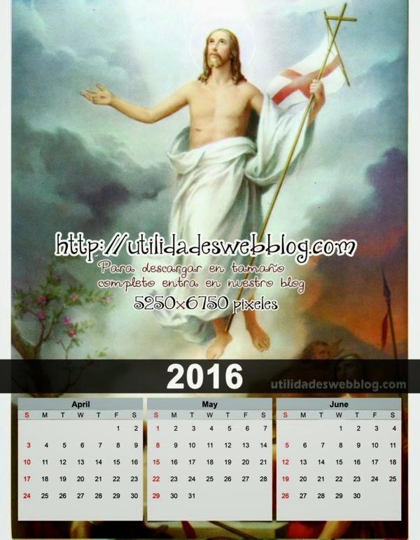 Calendario trimestral 2016 abril mayo junio para imprimir de cristo ascendiendo al cielo