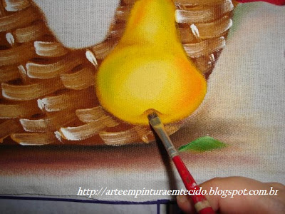 pintura em tecido como fazer pera