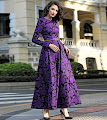 2016 Long Sleeve Purple Floral Long Maxi Dress