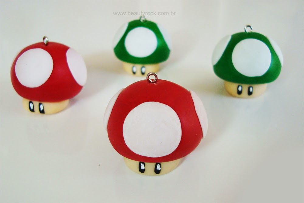 DIY: Pingente Cogumelos do Super Mario (1 up and Super Mushroom)