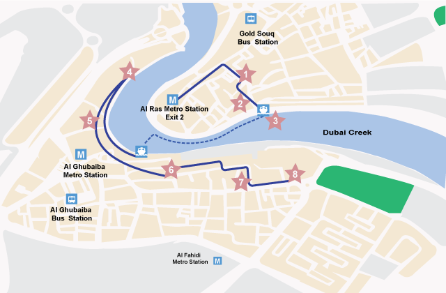 Do-it-yourself Walking Tour Map of Old Dubai