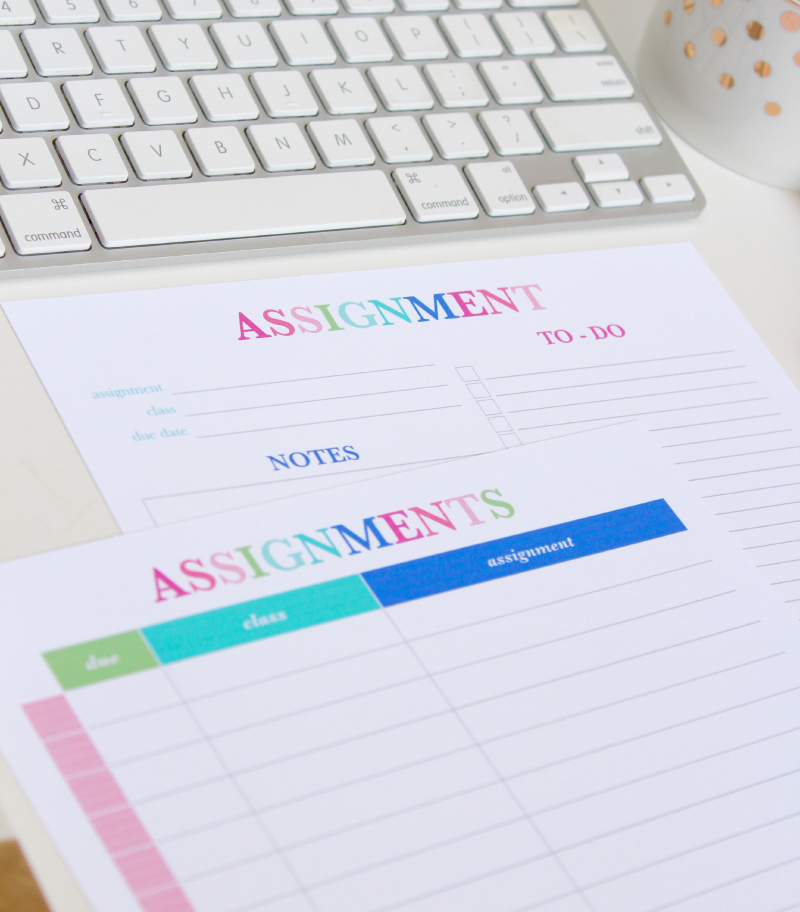 The Assignments List and Assignment Planner Printables to help you stay organized in school!