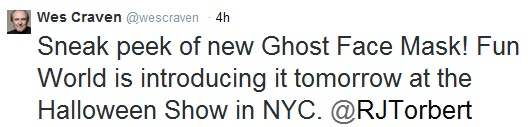 Twitter update from Wes Craven