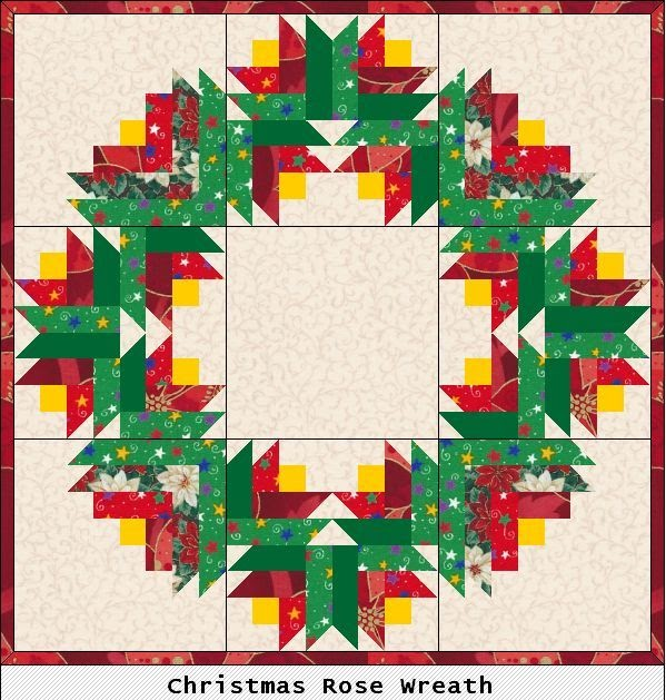 Quilt Pattern For Christmas Wreath : Scrapbox Quilts: Christmas Rose Wreath