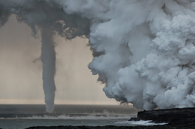 Waterspout and Volcanic Face