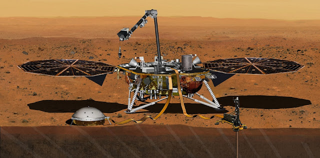This artist's concept from August 2015 depicts NASA's InSight Mars lander fully deployed for studying the deep interior of Mars. The mission will launch during the period March 4 to March 30, 2016, and land on Mars Sept. 28, 2016. Credits: NASA/JPL-Caltech