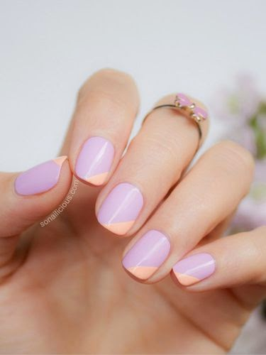 Sub in any color (here, lilac and peach are oh-so-sweet) for a geometric take on plain polish